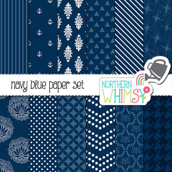 Navy Blue and White Digital Paper Pack – dark neutral papers for scrapbooking, invitations, cards, web backgrounds– instant download – CU OK