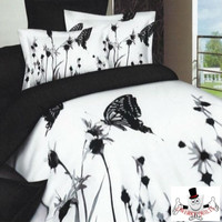 White Floral Butterfly Bedding Set and Quilt Cover