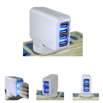 4 Ports 2A Portable Home Travel USB Wall Charger Adapter For iPhone Samsung iPod Free Shipping