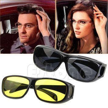 [LvDing] 1PC HD Night Vision Unisex Driving Sunglasses Yellow Lens Over Wrap Around Glasses