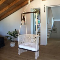 Handmade Macrame Hanging Chair, Cream