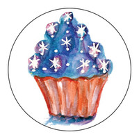 Stickers Red White & Blue Stars Cupcakes  - 1 Sheet of 24