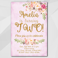 2nd Birthday Invitation, Fuchsia Gold Invitation, Any age 13th 18th 21st 30th 40th 50th, etsy Birthday Party invitation XA302f