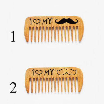 Mustache comb, Beard comb, Personalized wooden comb, wood comb, engraved comb, pocket comb, pyrography, Dad Gift, fathers day gift