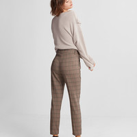 High Waisted Plaid Pleated Ankle Pant
