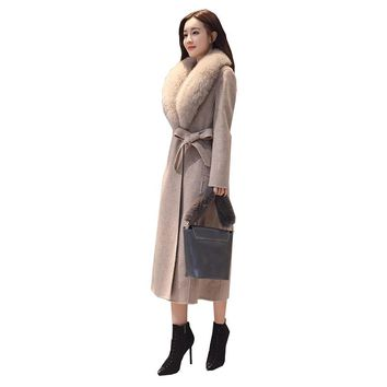 2017 Euramerican New Wool Coat Winter Women Fashion Thick Warm Long Heavy Hair Collar Long Sleeve Jacket Large Size S-XXL Gray
