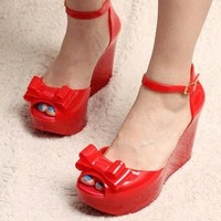 NEW WOMENS LADIES BOW JELLY PEEPTOE ANKLE STRAP WEDGES SHOES SANDALS
