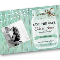 Wedding Save the Date Mint Wood Rustic mason jar card with string of lights rustic vintage shabby chic photo printable invitation