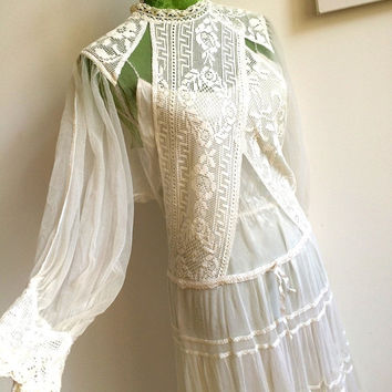 1970s - VALENTIA, Italy - Precious Cotton Lace Wedding Dress (SALE)