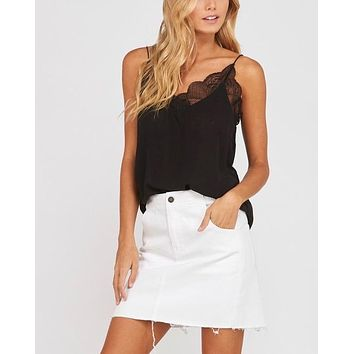 like it like that - lace trimmed lined crepe camisole tank - black
