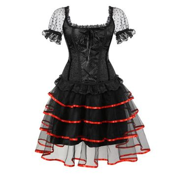 Sexy Steampunk Corsets and Bustiers Dess Plus Size Burlesque Gothic Lace up Shoulder Straps Corset Skirts Costume Floral Women