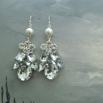 Crystal Art Deco Earrings, Rhinestone Bridal Earrings, Pearl Crystal Wedding Earrings, Bridal Statement Romantic Earrings