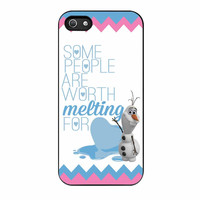Olaf Quote Melting The Disney Frozen Pink Blue Chevron iPhone 5 Case