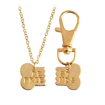 Broken Dog Bone Best Friends Pendant Necklace & Keychain Set