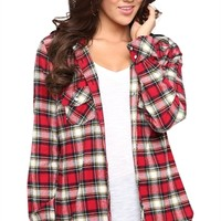 Flannel Shirt Jacket with Hood