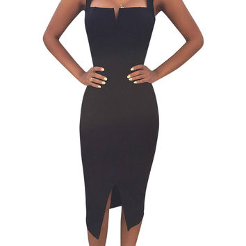 Black Bandage Strap Bodycon Dress With Split not available