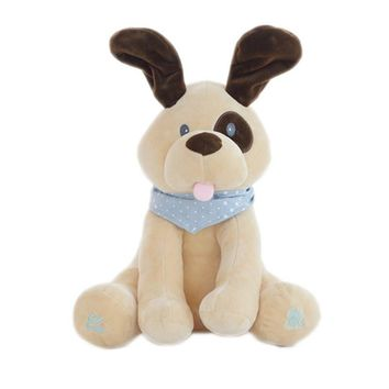 30cm Electric Dog Plush Soft Toy Animal Stuffed Doll Play Hide Seek Cute Cartoon Dog Baby Toy With Music For Children