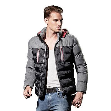 Winter Men's Clothing Nylon Windproof Down Jacket Men Hooded Down Coat Parkas Good Quality Cotton Padded Slim fit Jackets 080801
