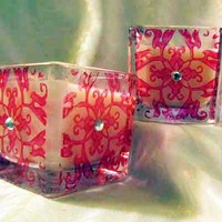 Votive Holders/Candles with Red Designs