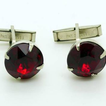 Vintage Red Glass Jewel Silver Tone cufflinks, cuff links