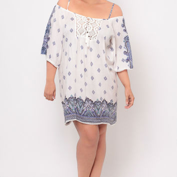 Plus Size Crochet Trim Border Print Dress- White/Blue