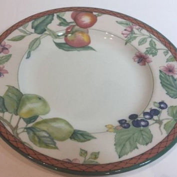 Johnson Brothers Autumn Grove Rare Salad Plate Multi Color Fruits & Border 8 1/4