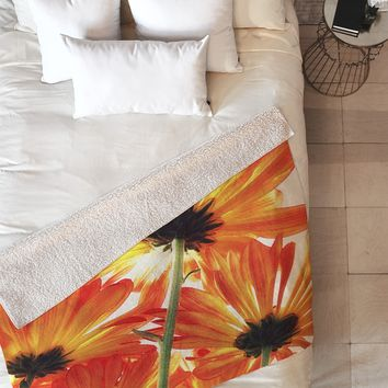 Shannon Clark Orange Daisies Fleece Throw Blanket