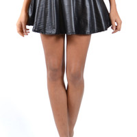 Carla Wet Look Black Band Skater Skirt | OMG Fashion