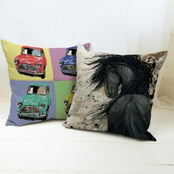 Square colorful Home Textile Cushion Covers Decorative soft seat linen black horse cute small car cushion suit almohada N(394)
