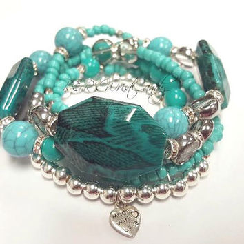 Teal Beaded Bracelet Set,Bracelet Stack, Turquoise, Silver, Minimalist Jewelry, Stretchy,Seed Beads, Custom, Handmade Beaded Jewelry