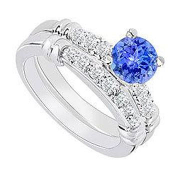 14K White Gold : Tanzanite and Diamond Engagement Ring with Wedding Band Set 0.75 CT TGW