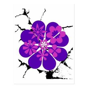purple and pink flowers postcard