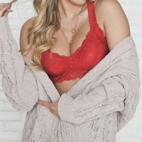 Racerback Lace Bralette in Red