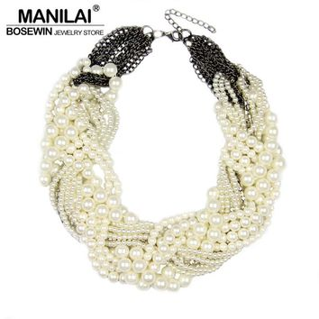 Handmade Chunky Imitation Pearl Necklace Fashion Rhinestones Collar Chokers Necklaces