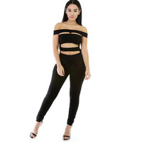 Women Jumpsuits Sexy Club Jumpsuits One Piece Outfits Black Full Bodysuit