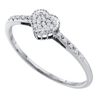 Diamond Fashion Heart Ring in 14k White Gold 0.07 ctw