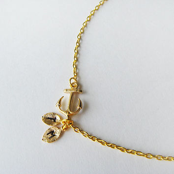 Nautical Necklace. Gold Sideways Anchor Necklace. Custom Letter Leaf. Sailor Anchor. Birthday Gift, Mother Sister. Monogrammed Necklace.