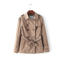 Casual Doll Collar Double Button Trench Coat