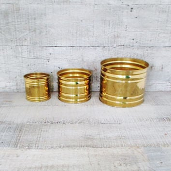 Brass Planters Set of 3 Vintage Planter Flower Pot Brass Container Garden Container Gold Planter Flower Pot Hollywood Regency Indoor Planter
