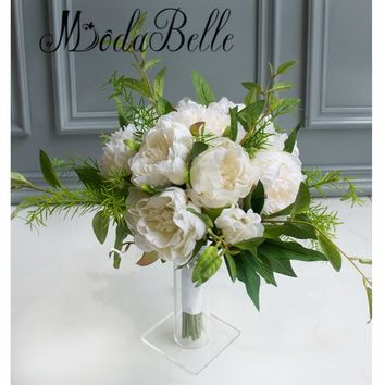 modabelle Elegant Wedding Flowers Bridal Bouquets Green Ivory Brooch Bouquet Artificial Bride Wedding Photography Accessories