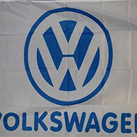 Volkswagen White with Blue Logo Polyester Flag Banner Sign