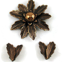 Vintage Copper Brooch Pin and Matching Clip-on Earrings