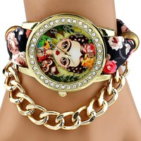 Gnova Platinum TOP Ethnic Fabric mexican Rhinestone Frida Parrot Monkey woman wristwatch golden chain bracelet watch vintage
