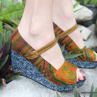 Womens Mary Janes In Laos Embroidery With Indigo Batik Wedge Heels And Peep Toe