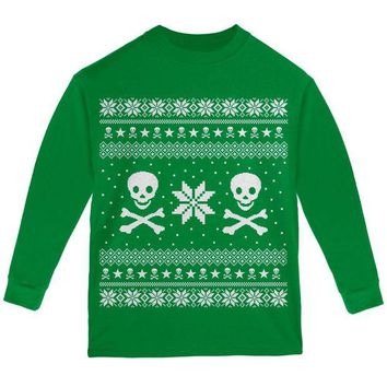 ONETOW Skull & Crossbones Ugly Christmas Sweater Youth Long Sleeve T Shirt