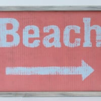 "Coral beach sign with distressed frame 13"" x 19"""