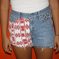 Red and White Tribal high-waist shorts Size 5