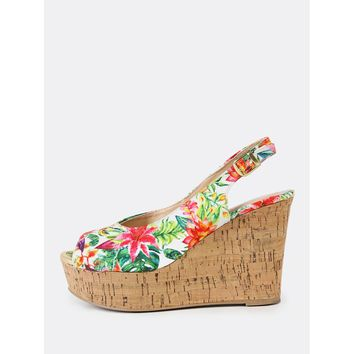 Floral Print Peep Toe Sling Back Wedge Sandal GREEN MULTI