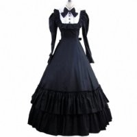 Partiss Womens Bowknot Masquerade Gothic Cosplay Lolita Dress,X-Large, Beige