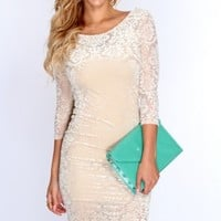 Beige Velvet Texture Knee Length Sexy Bodycon Dress